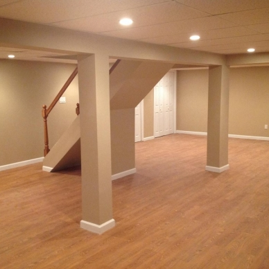 finished basement with hardwood floors
