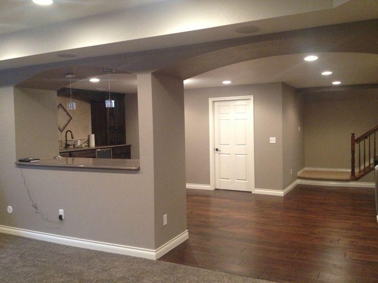 finished basement split hardwood floor and carpet