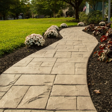 stamped concrete walkway