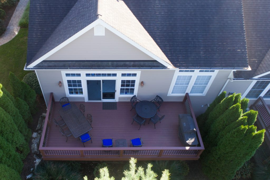 deck without patio awning from above