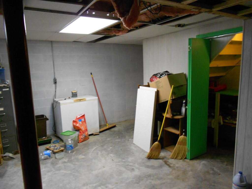 Before. Unfinished Basement. After