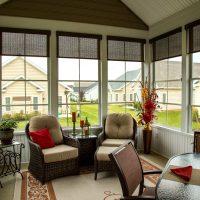 interior of furnished patio enclosure