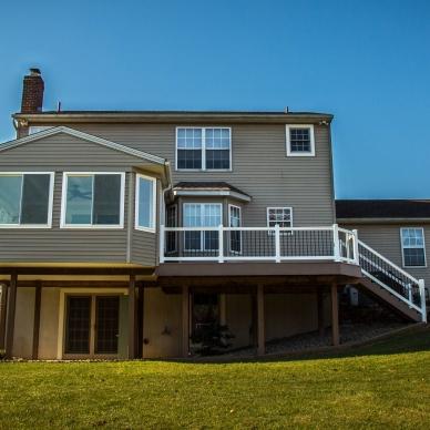 deck and vinyl railings and patio enclosure