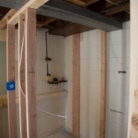 new framing during a bathroom remodel