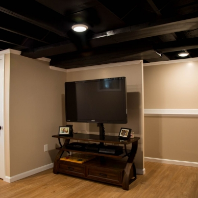 entertainment center in finished basement with hardwood floor