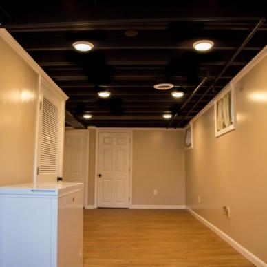 finished basement with hardwood floor