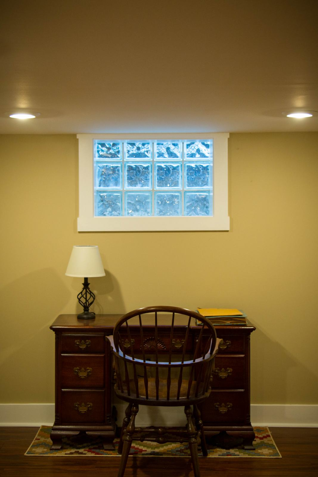 finished basement with replacement window and desk