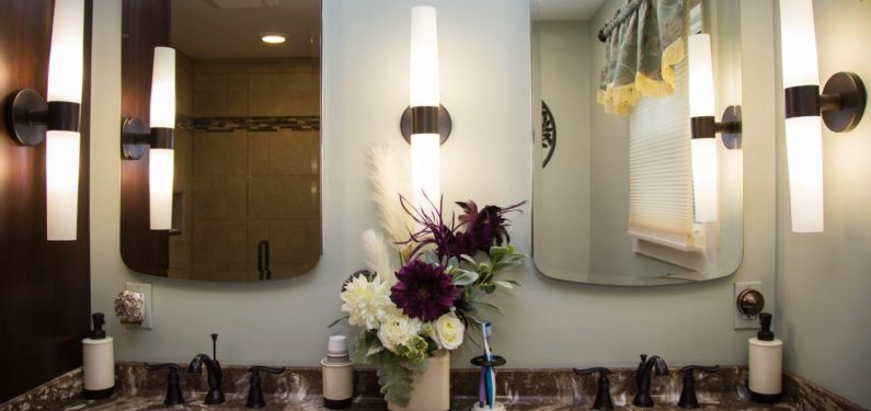 dual sink and mirror bathroom vanity