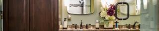 countertop of dual vanity in a remodeled bathroom