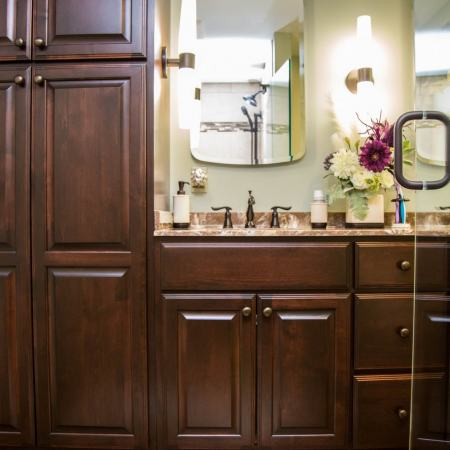 bathroom vanity with storage cabinets
