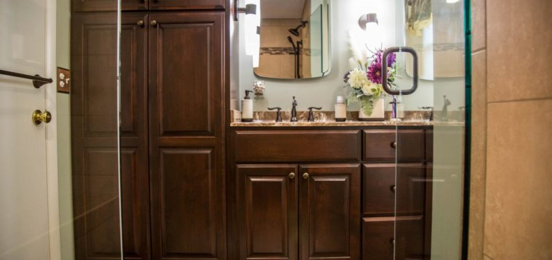 view of remodeled bathroom vanity from the shower