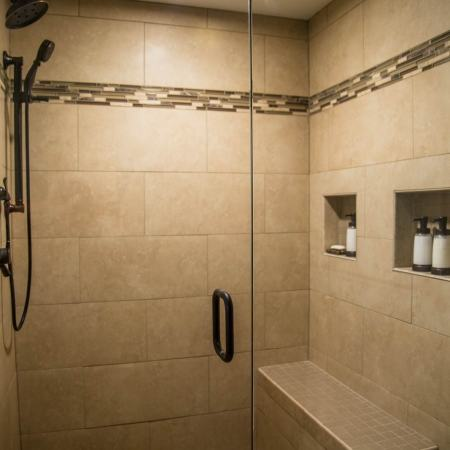 finished walk-in shower unit