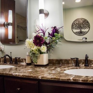 dual sink and mirror bathroom vanity