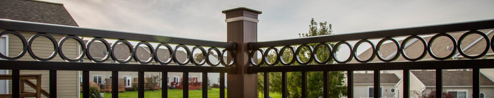 detail of corner column and vinyl railings