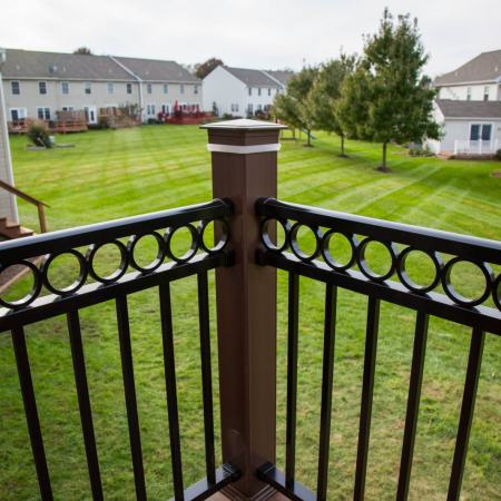 corner column of new vinyl railings