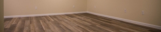 finished basement with vinyl floor