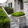 concrete steps and vinyl railings after