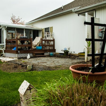 old weathered concrete patio