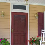 red entry door and storm door