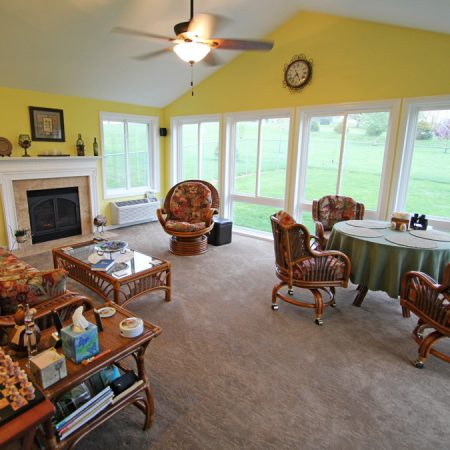 interior of a carpeted home addition