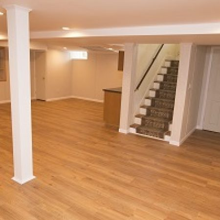 finished basement with hardwood floors