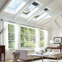 living room with blue couch skylights and window screens