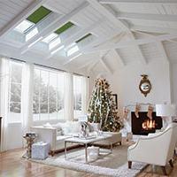 living room with christmas tree and skylights
