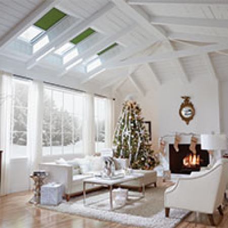 living room with christmas tree and skylights