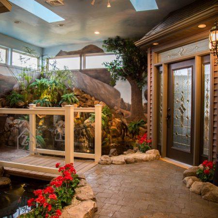 bridge and fountain in showroom
