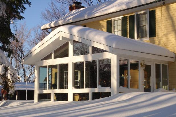 sunroom addition in snow