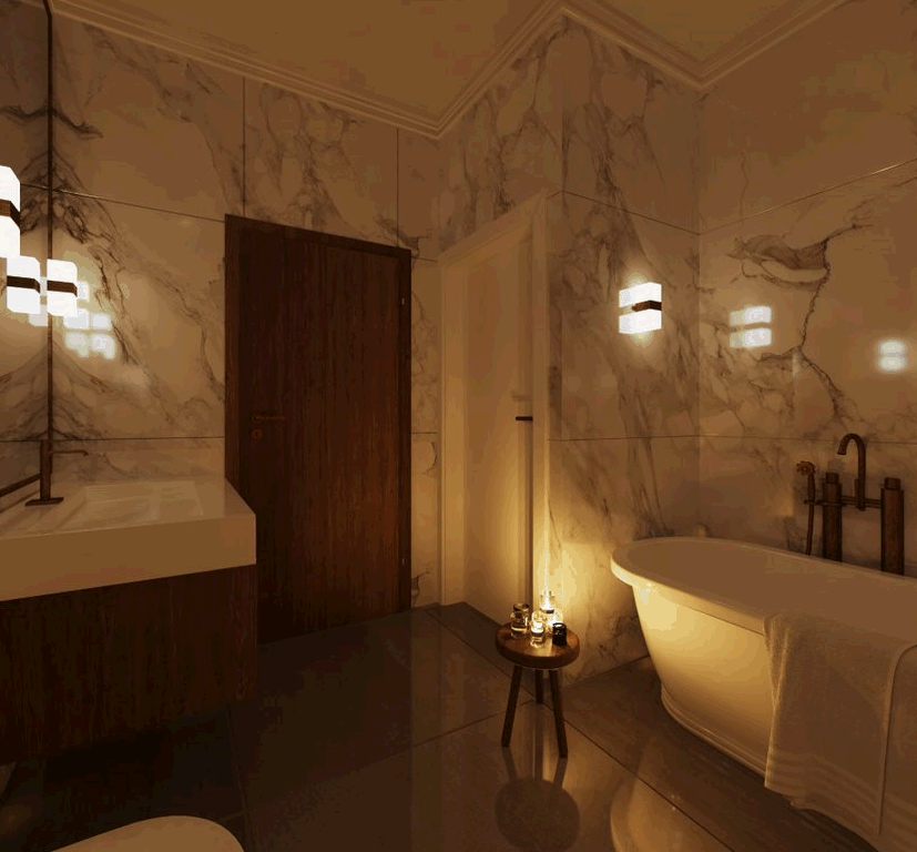 bathroom using wall sconces for lighting
