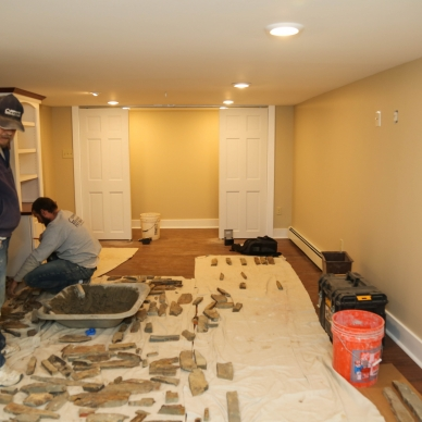 finishing a basement fireplace