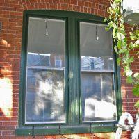 weathered green windows