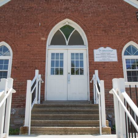 church with old windows and doors