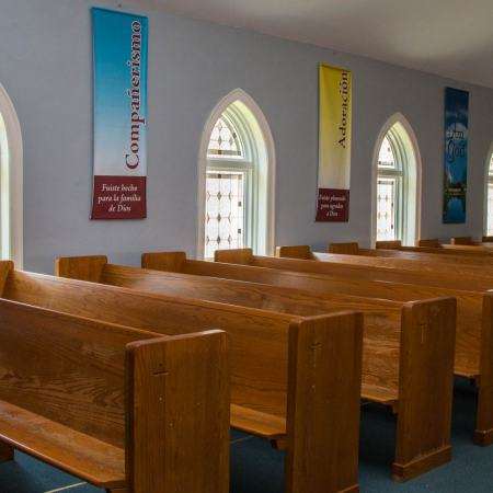 interior view of new windows in church