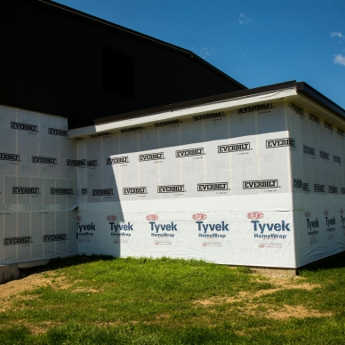 building with homewrap to prep for siding