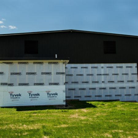 homewrap on building to prepare for siding installation