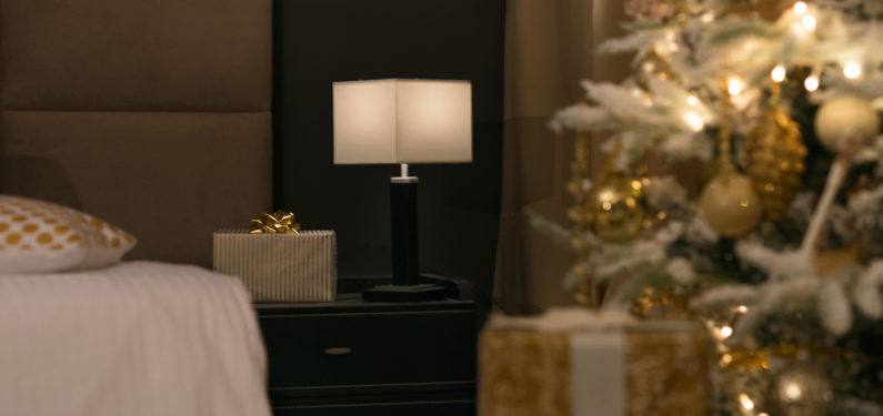 presents in a room with christmas tree