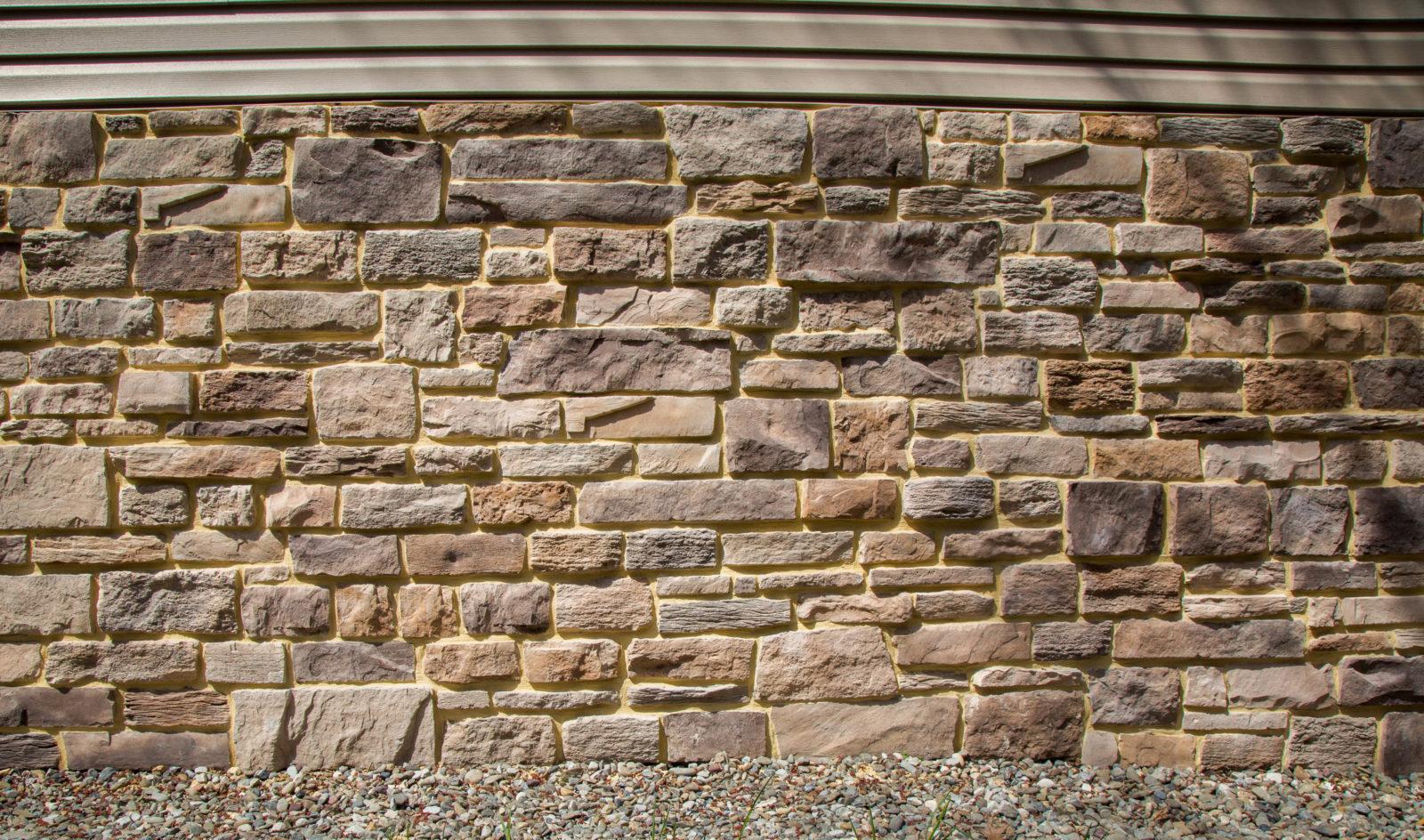 detail of decorative stone siding