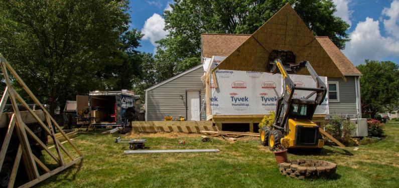 patio enclosure construction in progress
